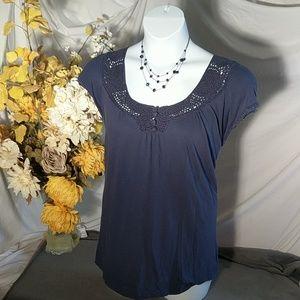 Blue top with crochet neckline